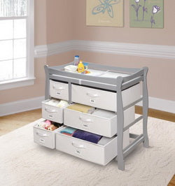 classic baby changing table in gray