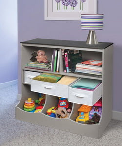 combo bin storage unit with 3 baskets and 2 open shelves and 3 cubby bins in woodgrain gray