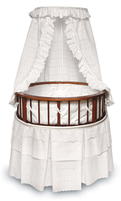 Elegance Round Baby Bassinet with Canopy - Cherry/White - My USA Furniture