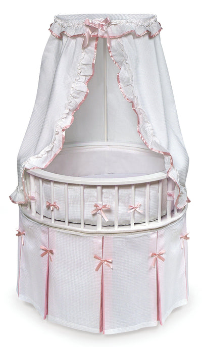 Elegance Round Baby Bassinet with Canopy - White/Pink - My USA Furniture