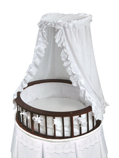 Elite Oval Baby Bassinet with Canopy - Cherry/White - My USA Furniture