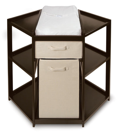 Diaper Corner Baby Changing Table with Hamper and Basket - Espresso - My USA Furniture