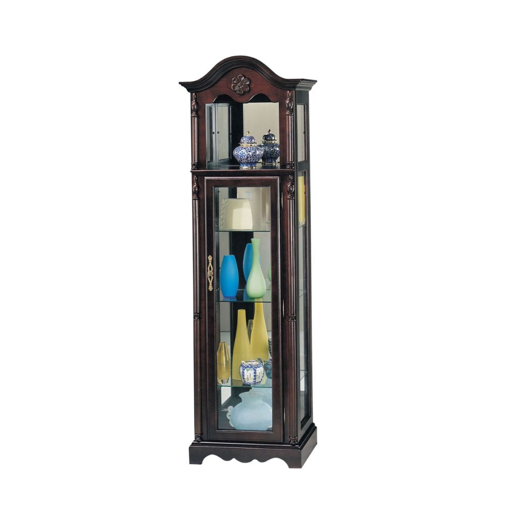 Traditional Curio Cabinet, Cherry Finish, 4 Shelves