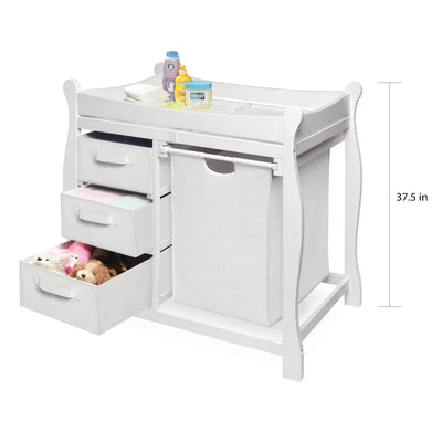 Sleigh Style Baby Changing Table with Hamper and 3 Baskets - White - My USA Furniture
