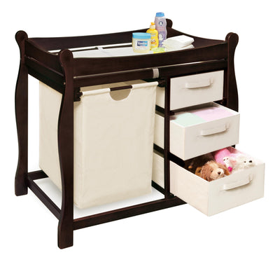 Sleigh Style Baby Changing Table with Hamper and 3 Baskets - Espresso - My USA Furniture