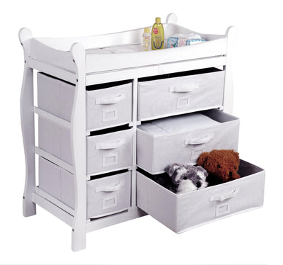 Sleigh Style Baby Changing Table with 6 Baskets - White - My USA Furniture
