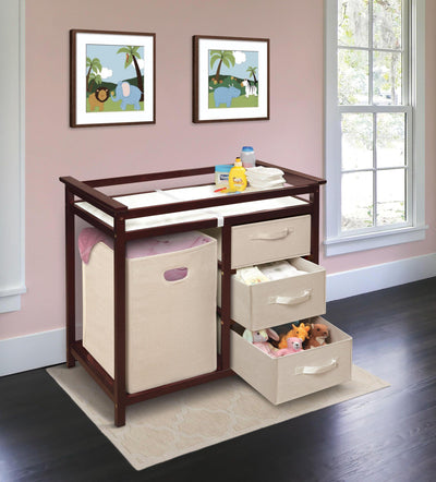 Modern Baby Changing Table with Hamper and 3 Baskets - Cherry - My USA Furniture