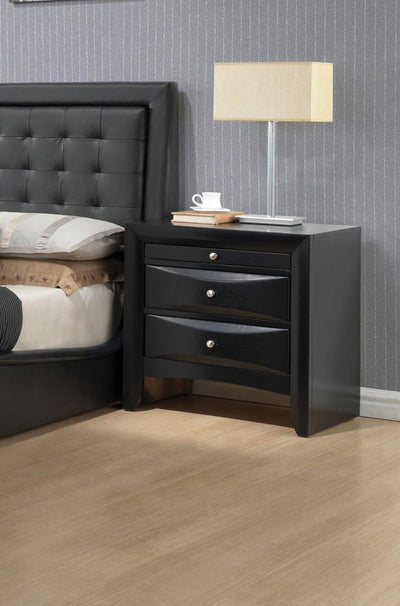 Elegant Nightsand In Black With 2 Drawers and a Pullout Tray 25 inch Tall