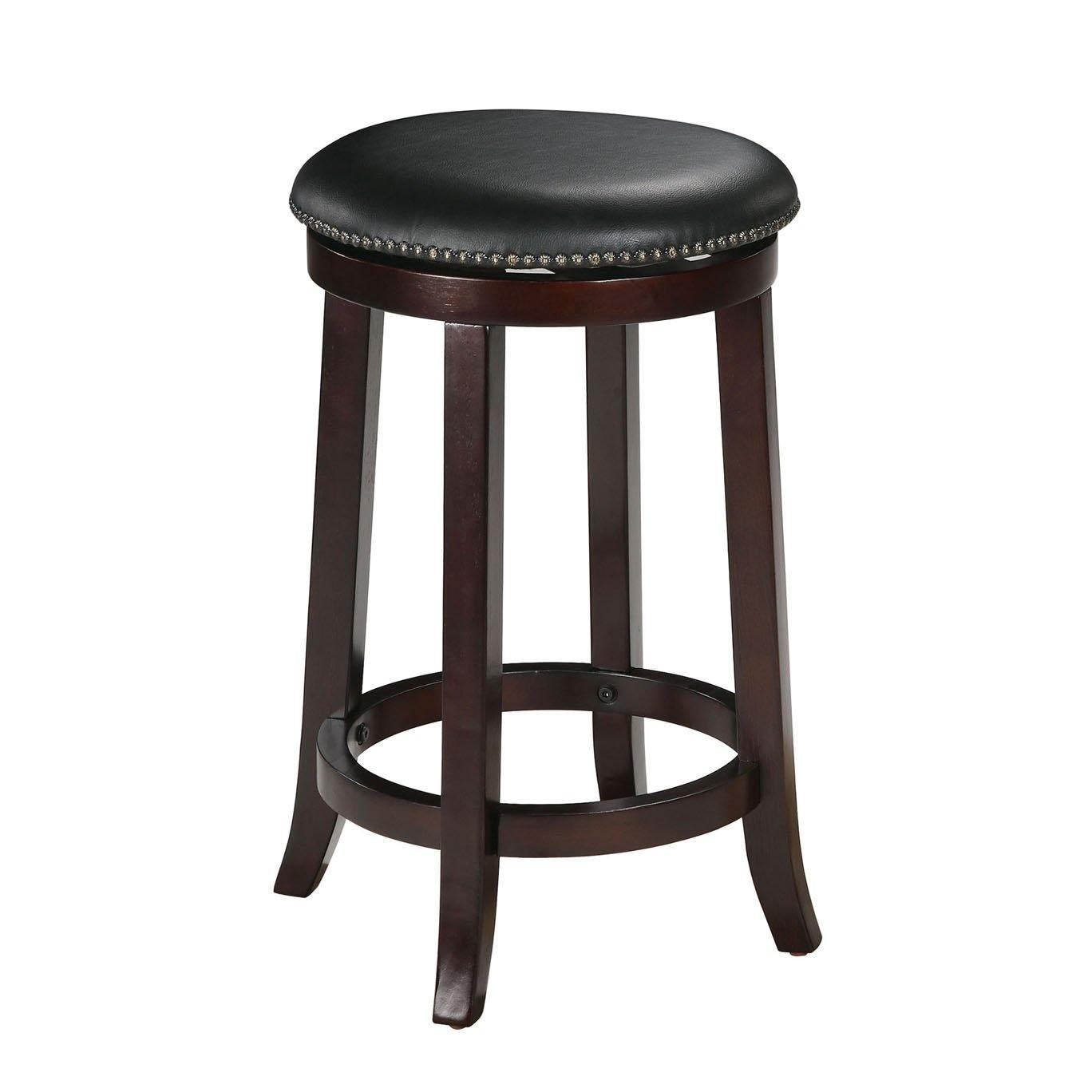 Counter Height Swivel Stool With Nailhead Trim, Solid Wood in Espresso (Set of 2)