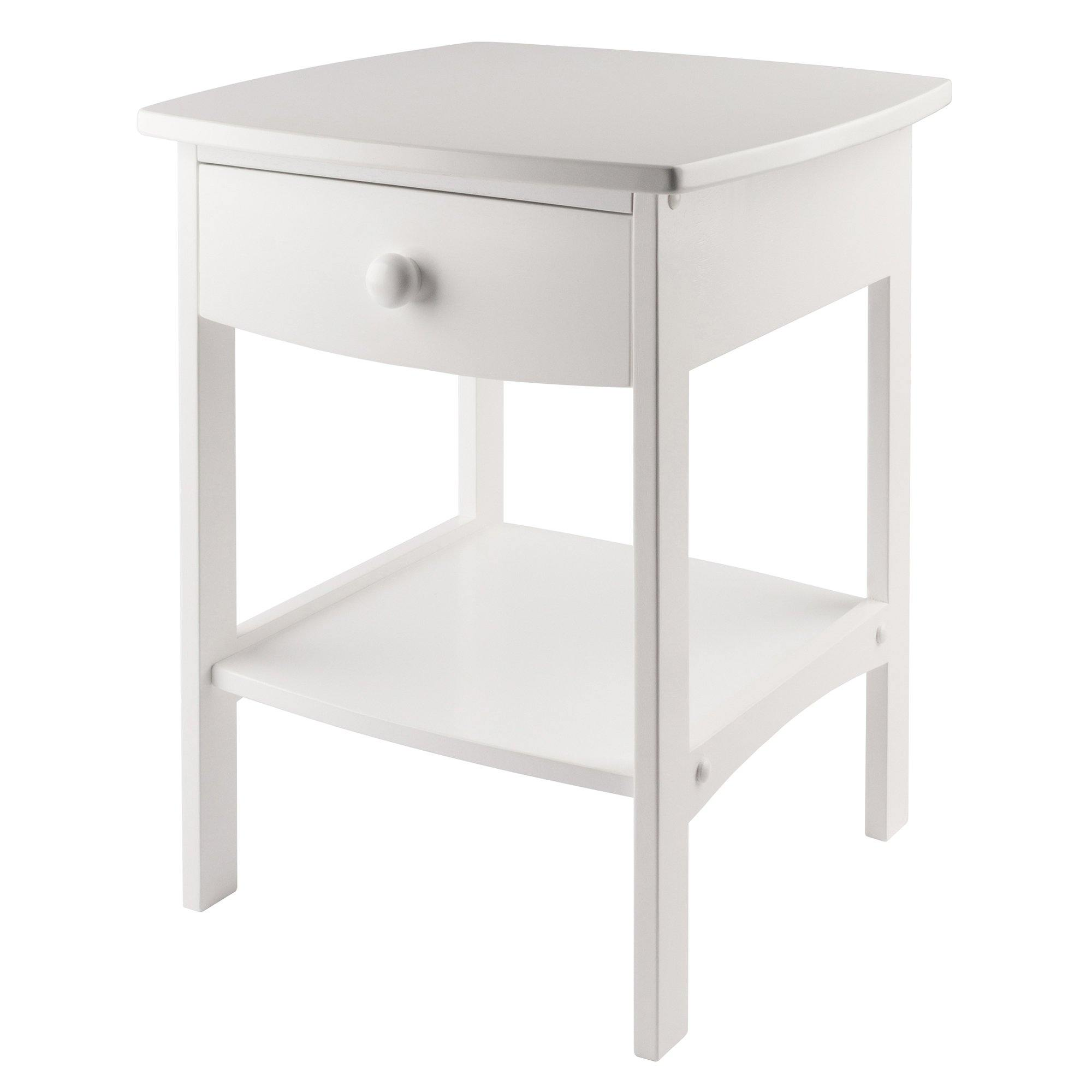 Claire Curved Accent Table, Nightstand, White - My USA Furniture