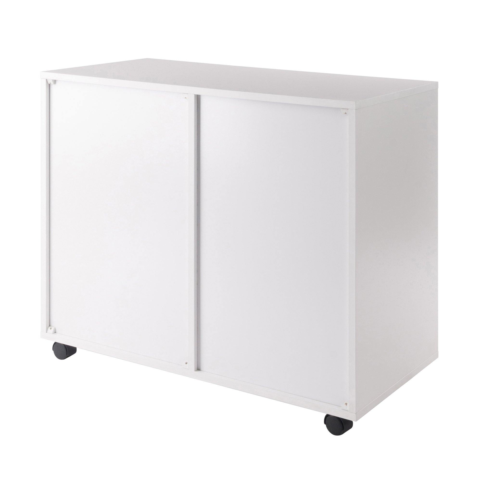 2 Section Mobile Filing Cabinet in White Finish