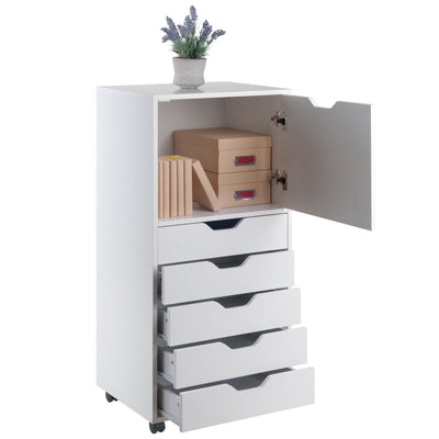 Halifax 5-Drawer Mobile High Cabinet, White - My USA Furniture