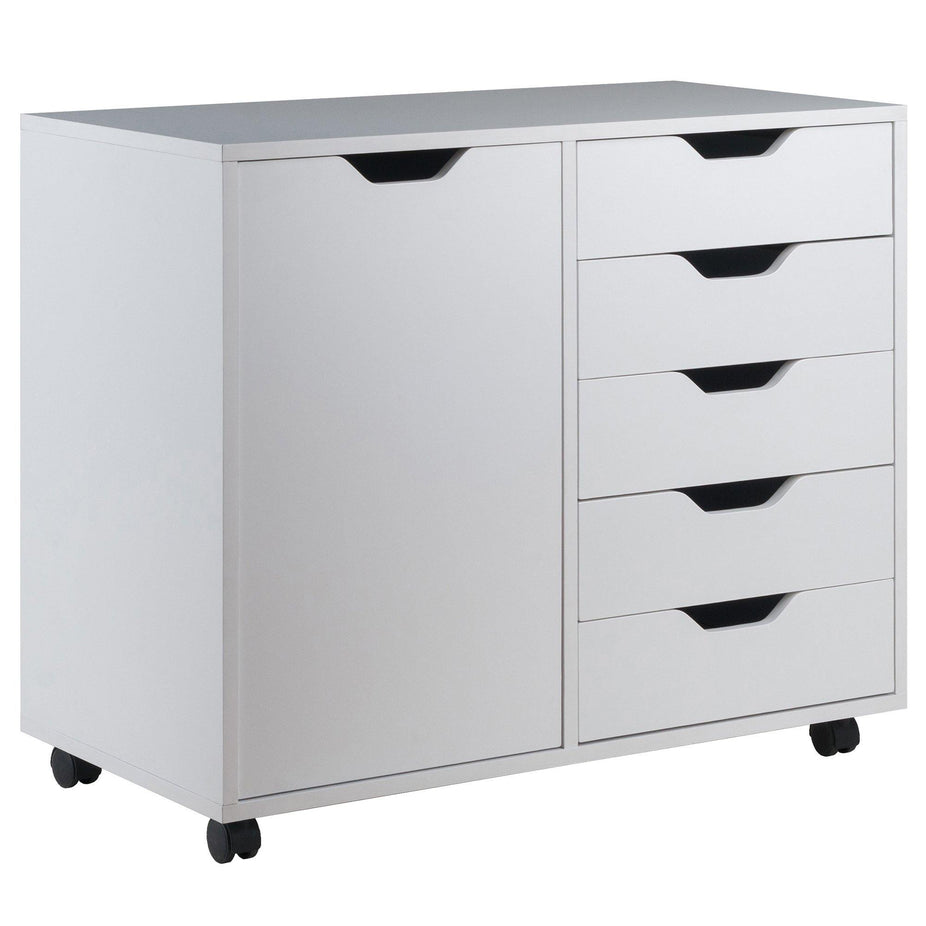 Halifax 5-Drawer Mobile Side Cabinet, White - My USA Furniture