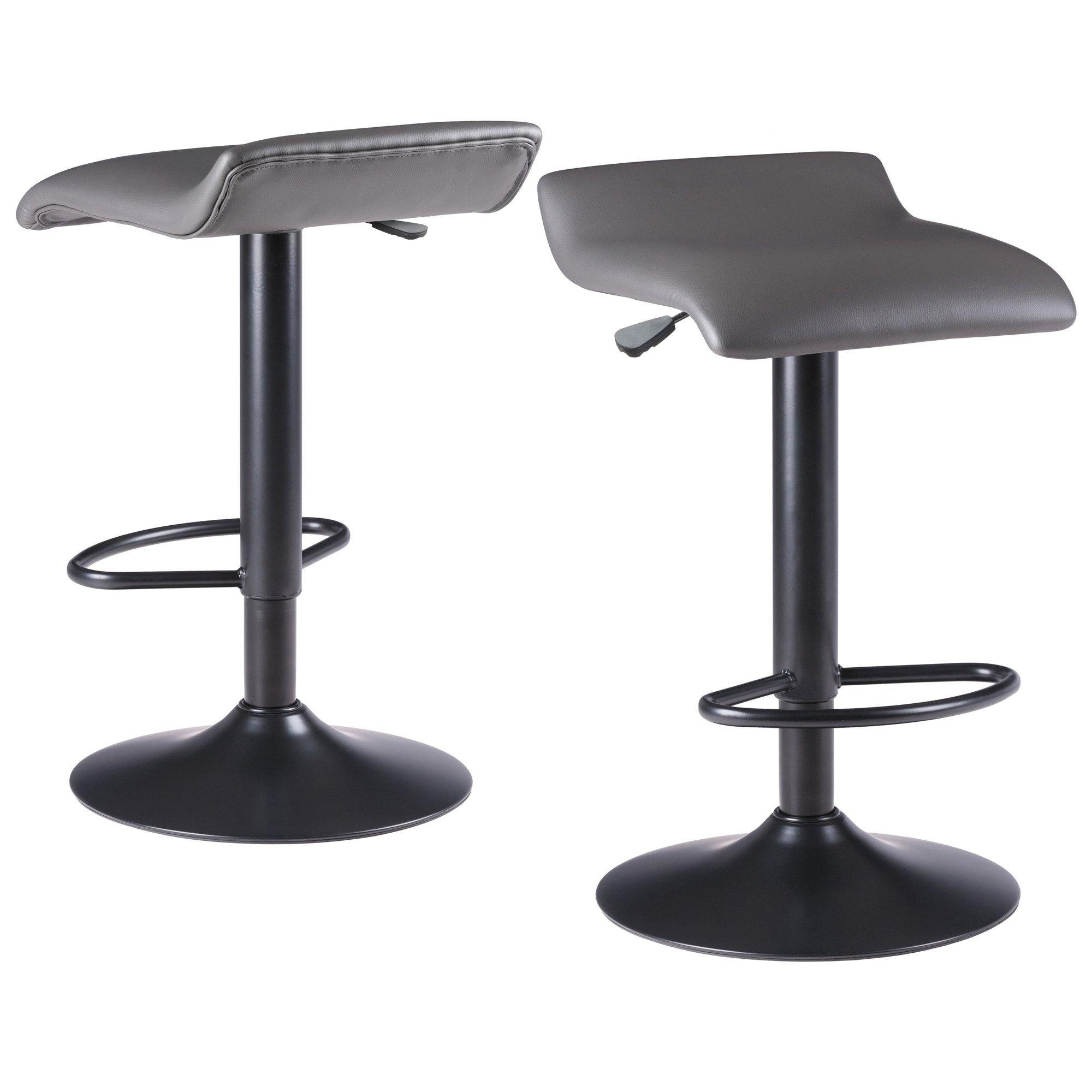 Tarah Adjustable Swivel Stools, 2-Pc Set, Black & Slate Gray - My USA Furniture