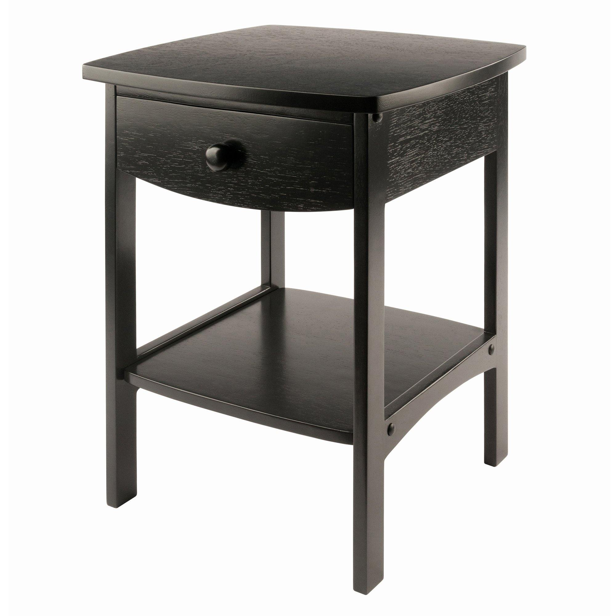 Claire Curved Accent Table, Nightstand, Black - My USA Furniture