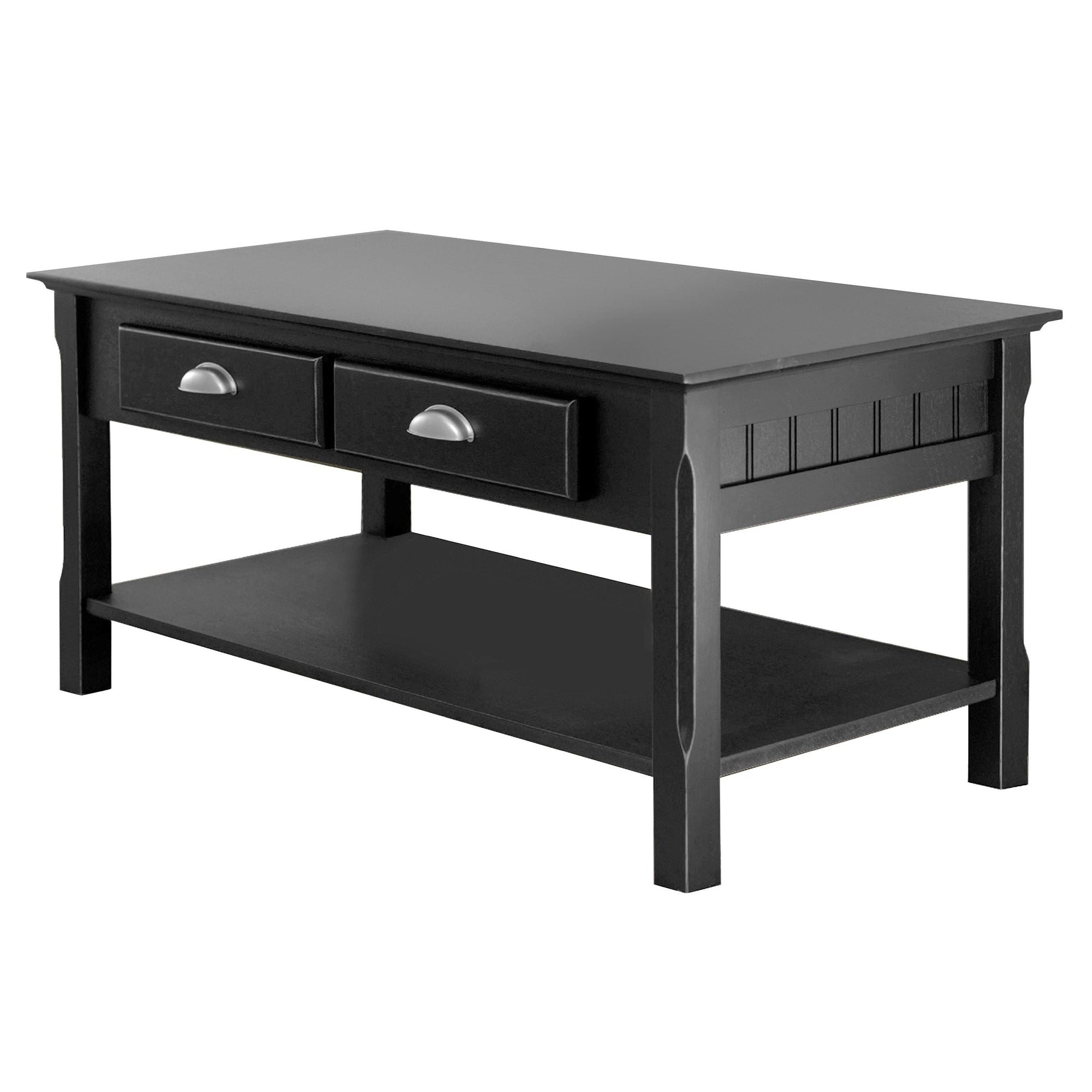 Timber Coffee Table with Drawers, Black - My USA Furniture