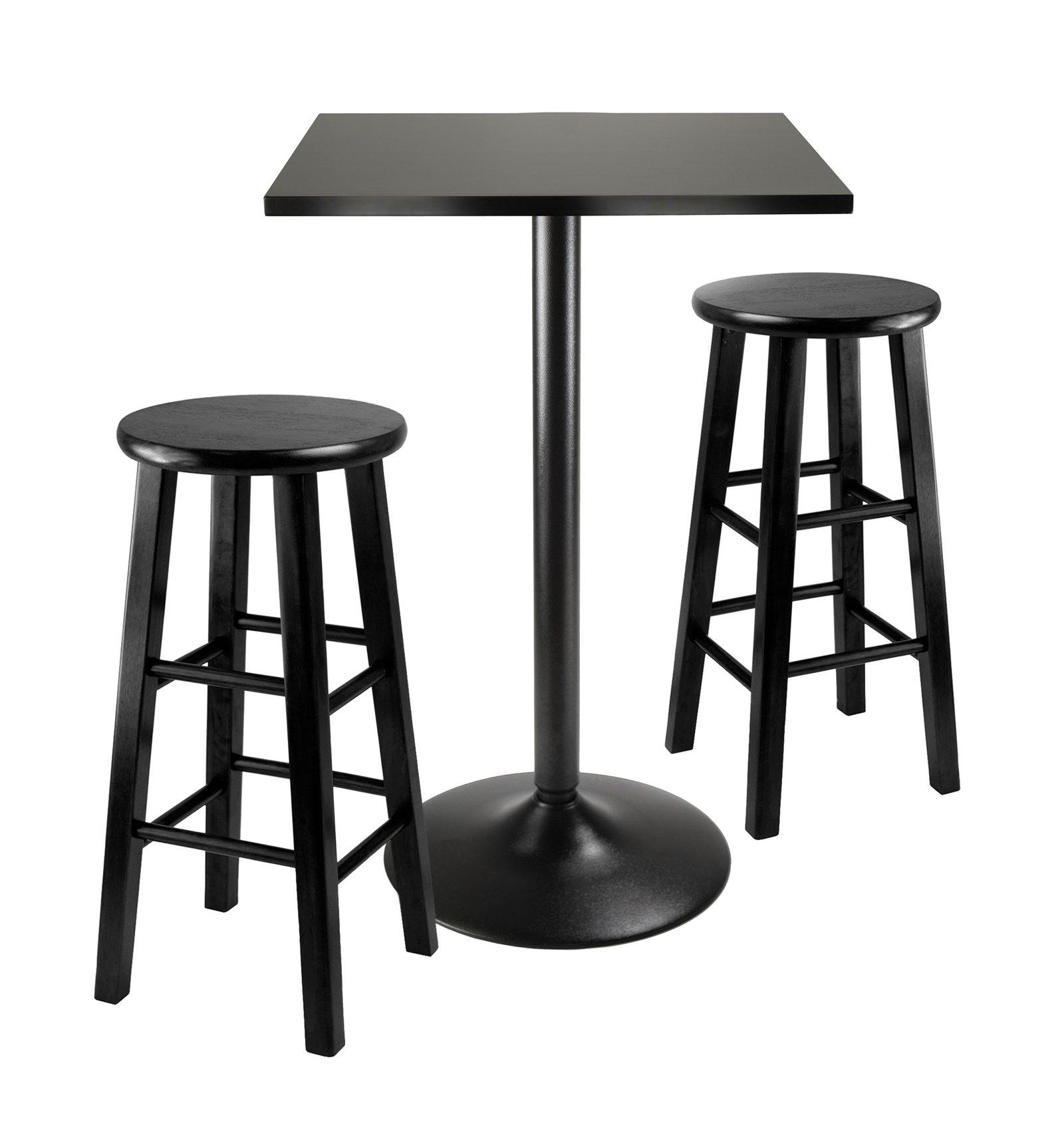 3Pc Counter Height Dining Set, Black Square Table Top and Black Metal Legs with 2 Wood Stools - My USA Furniture