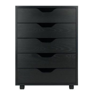 Halifax 5-Drawer Mobile Cabinet, Black