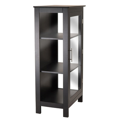 Wood Poppy Display Cabinet, Glass Door, Black - My USA Furniture