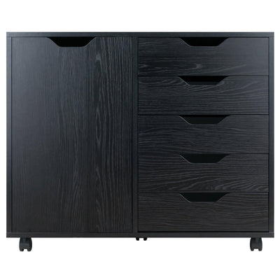 Halifax 5-Drawer Mobile Side Cabinet, Black