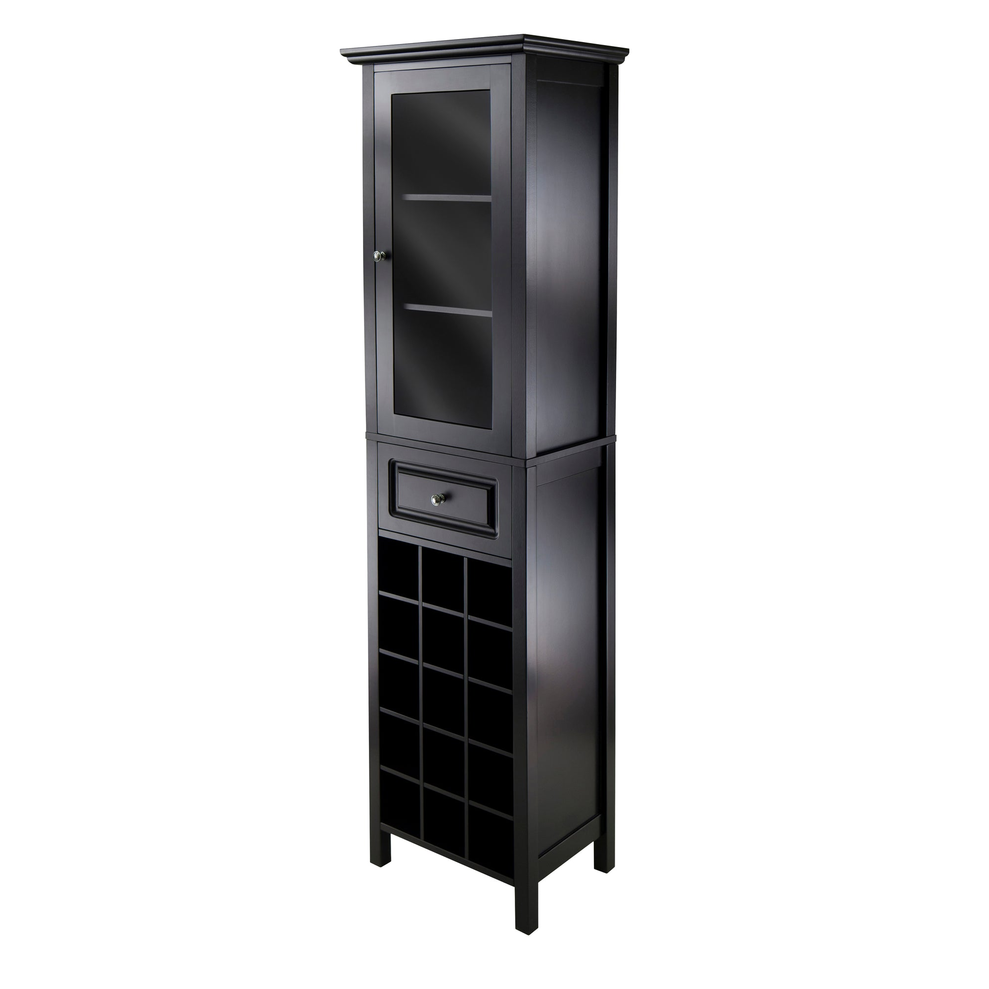 Tall Narrow Wine Cabinet Tower, See Through Door