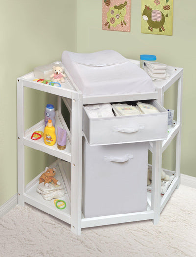 Diaper Corner Baby Changing Table with Hamper and Basket - White - My USA Furniture