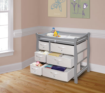 Sleigh Style Baby Changing Table with 6 Baskets - Gray - My USA Furniture