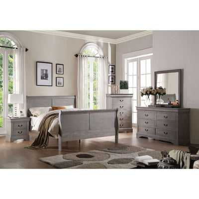 Sleigh Style Transitional Bed in Antique Gray, Made of Wood