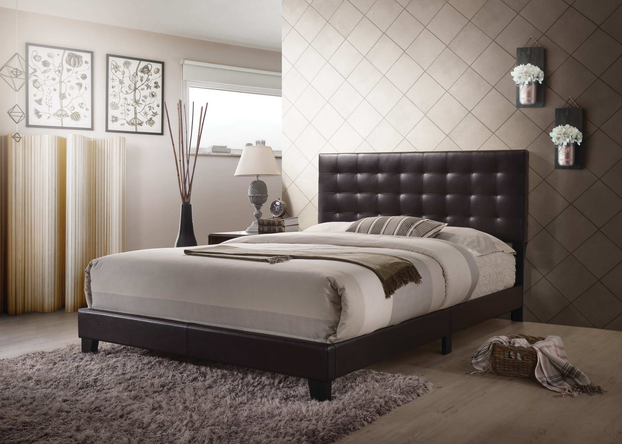 Queen Platform Bed In Espresso, Tufted Headboard