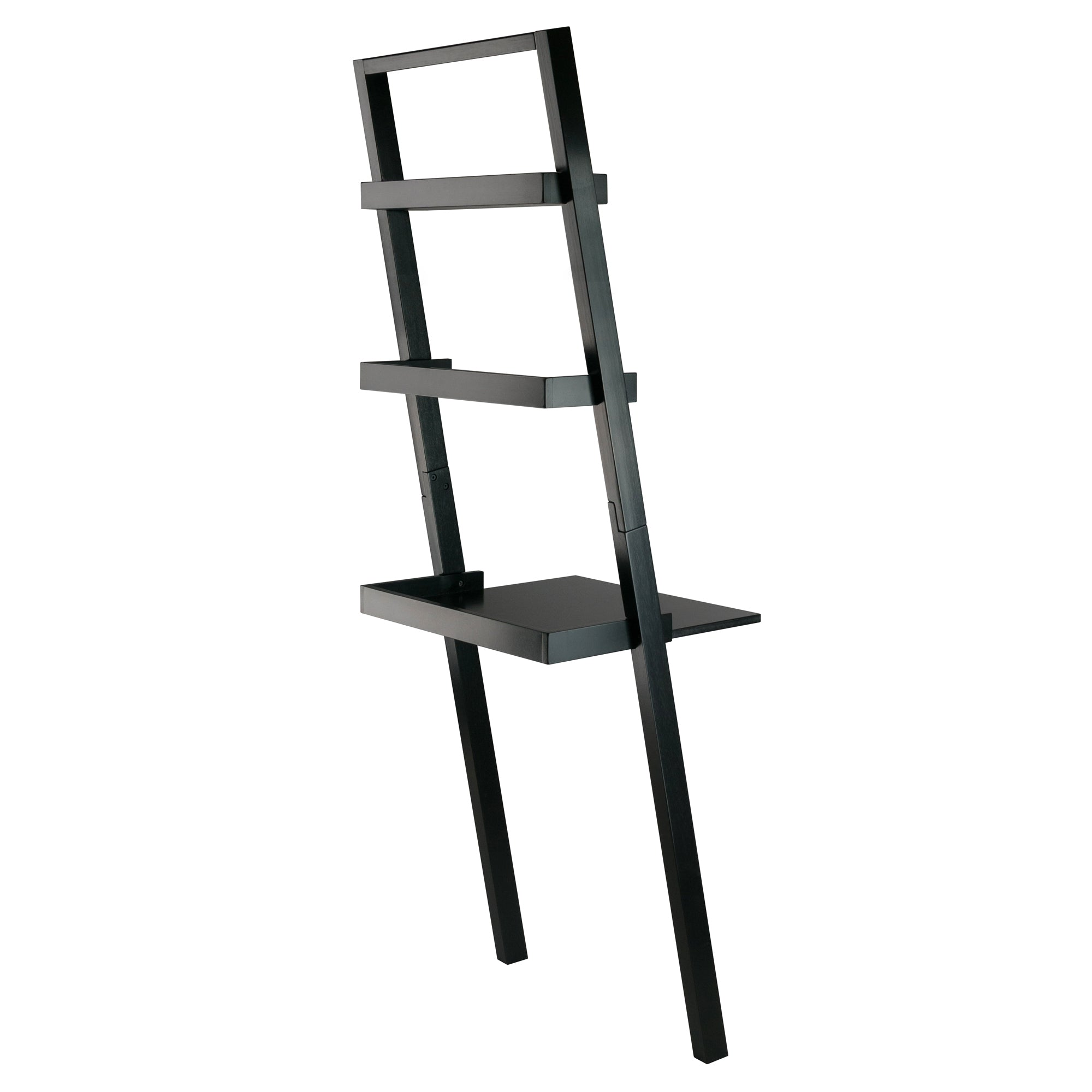Wall Leaning Ladder Desk With 2 Shelves, Black
