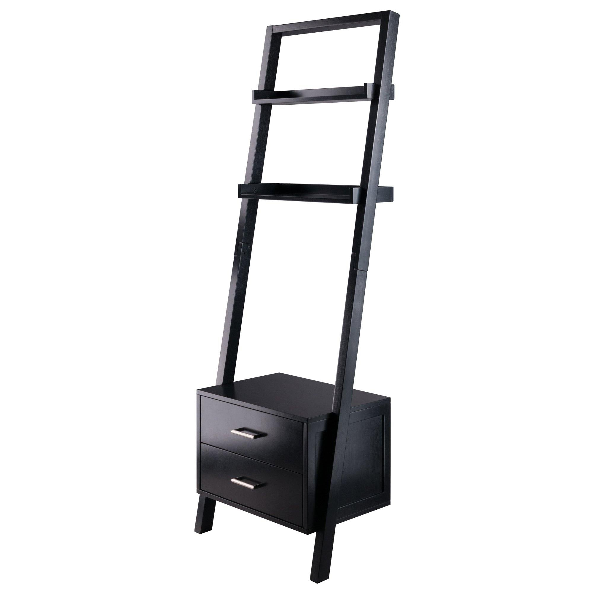 Bellamy Leaning Shelf with Storage, Black - My USA Furniture