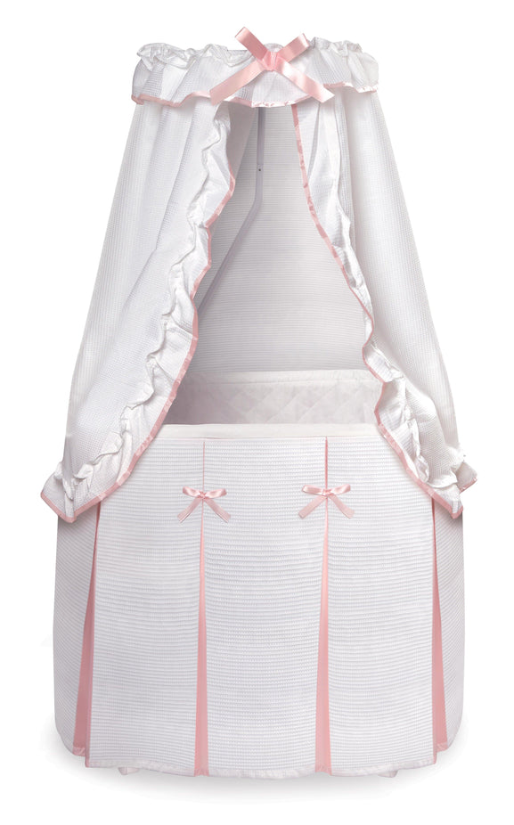 Majesty Baby Bassinet with Canopy - White/Pink Bedding - My USA Furniture