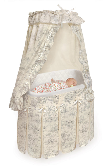 Majesty Baby Bassinet with Canopy - Ecru/Black Toile Bedding - My USA Furniture