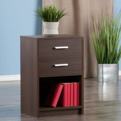 Molina 2-Drawer Accent Table, Nightstand, Cocoa - My USA Furniture