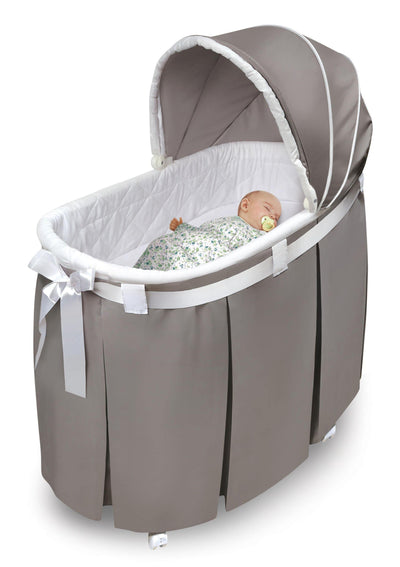 Wishes Oval Bassinet - Full Length Skirt - Gray Bedding - My USA Furniture