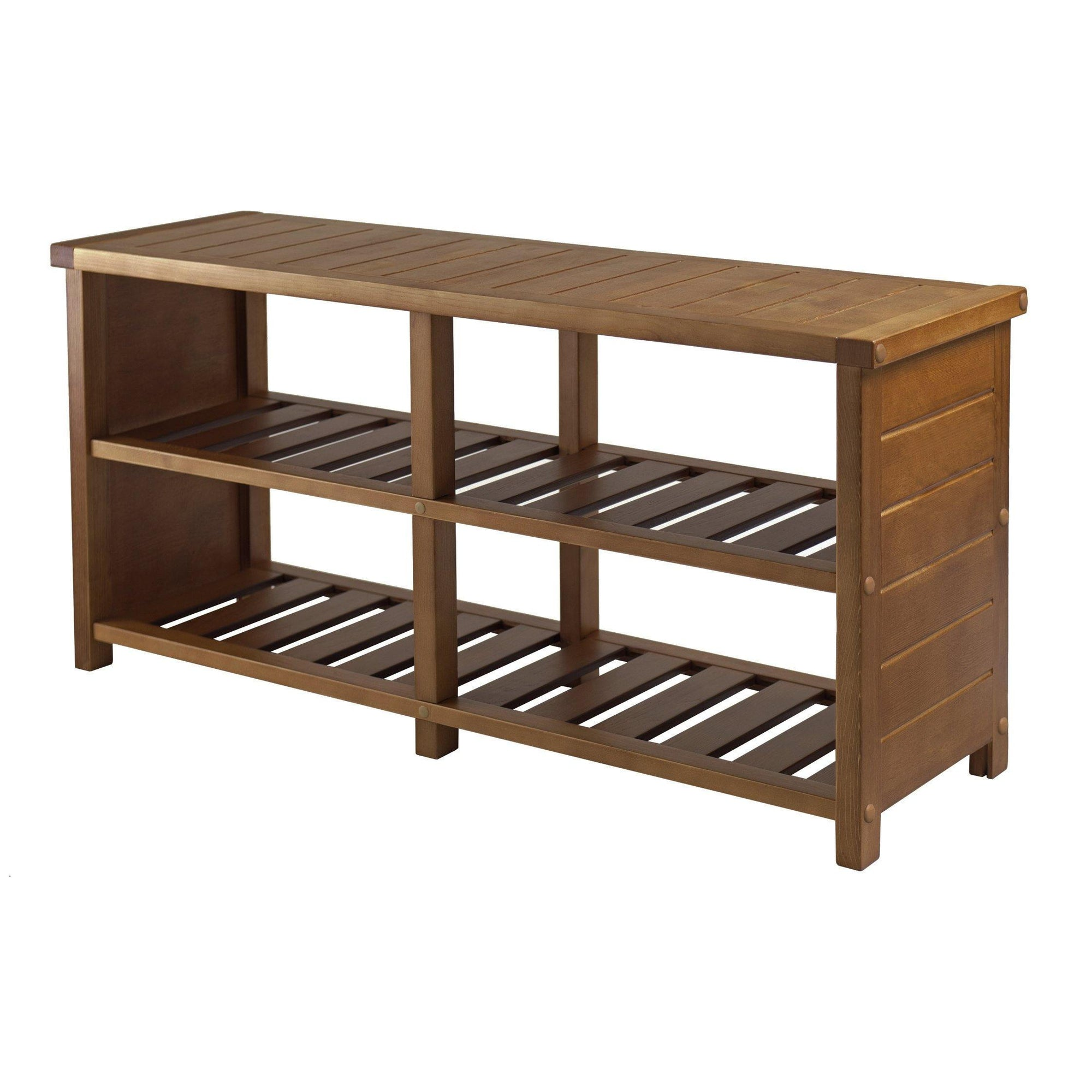 Keystone Bench, Shoe Storage, Teak Finish - My USA Furniture