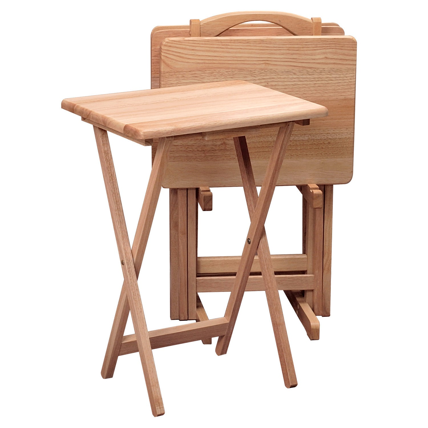 Set of 4 Foldable Snack Tables with a Storage Rack
