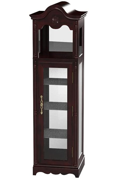 Traditional Curio Cabinet in Cherry Finish With 4 Glass Shelves and Wooden Frame