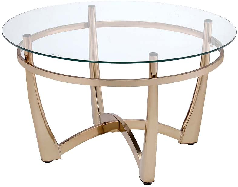 Round Coffee Table with Glass Top and Glam Luxurious Champagne Finish Base