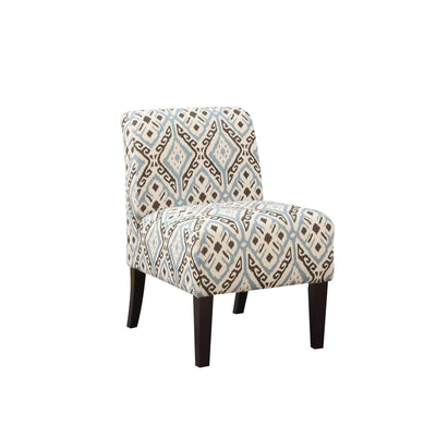 Elegant Accent Chair with Wooden Legs and Fabric Upholstery, Contemporary