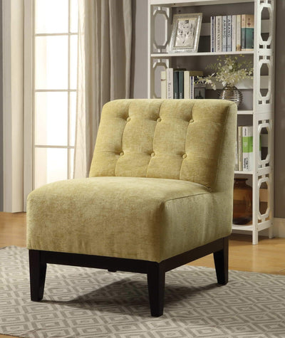 Armless Accent Chair in Yellow, Made of Wooden Legs and Fabric Upholstery