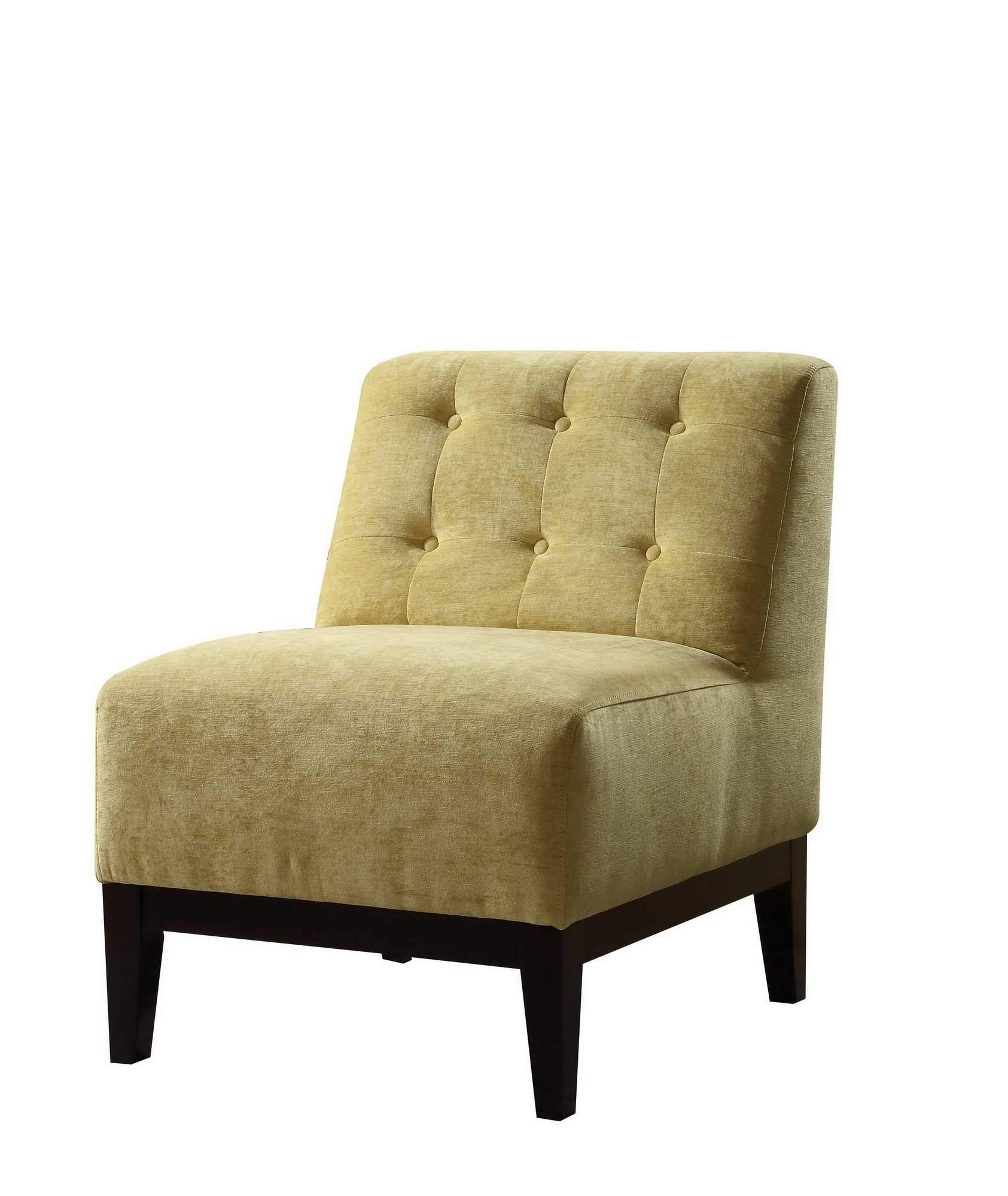 Armless Accent Chair in Yellow Fabric Upholstery