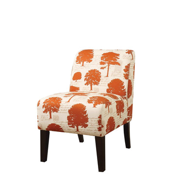Contemporary Armless Accent Chair with Padded Back in Tree Pattern