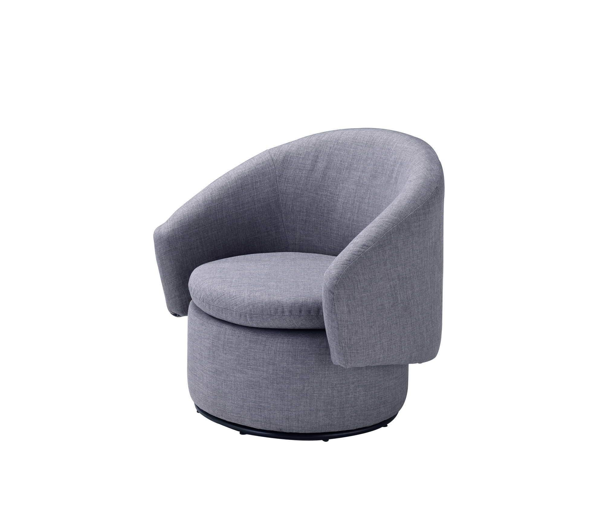 Barrel Accent Swivel Chair in Gray, Contemporary