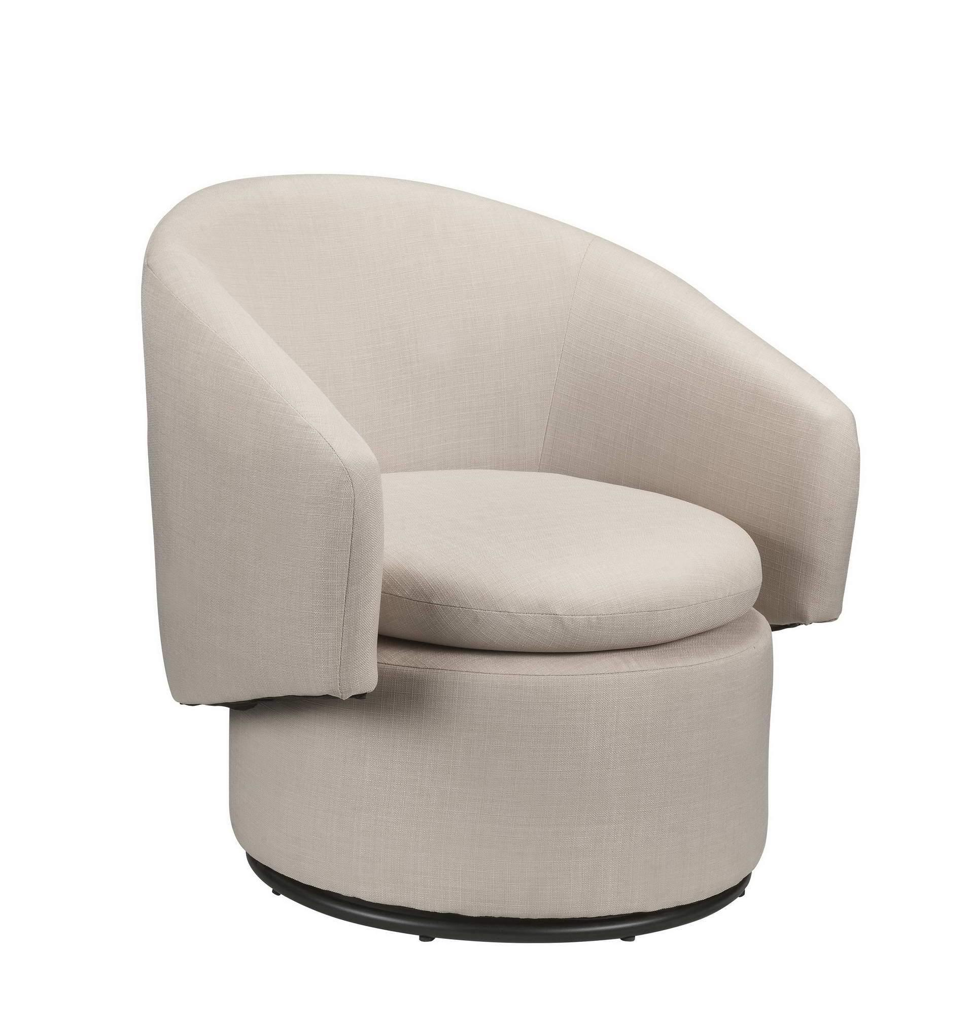 Barrel Accent Swivel Chair, Sand Linen, Contemporary