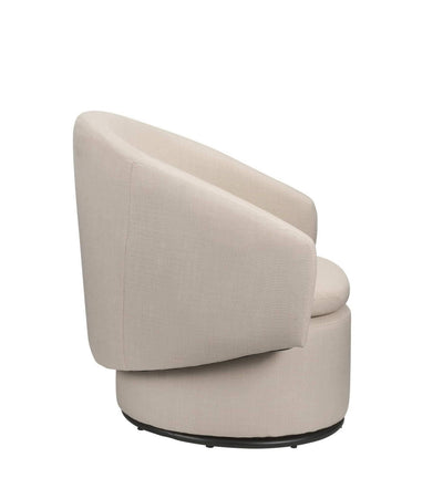 Barrel Accent Swivel Chair in Sand Linen, Wooden Frame, Contemporary Style