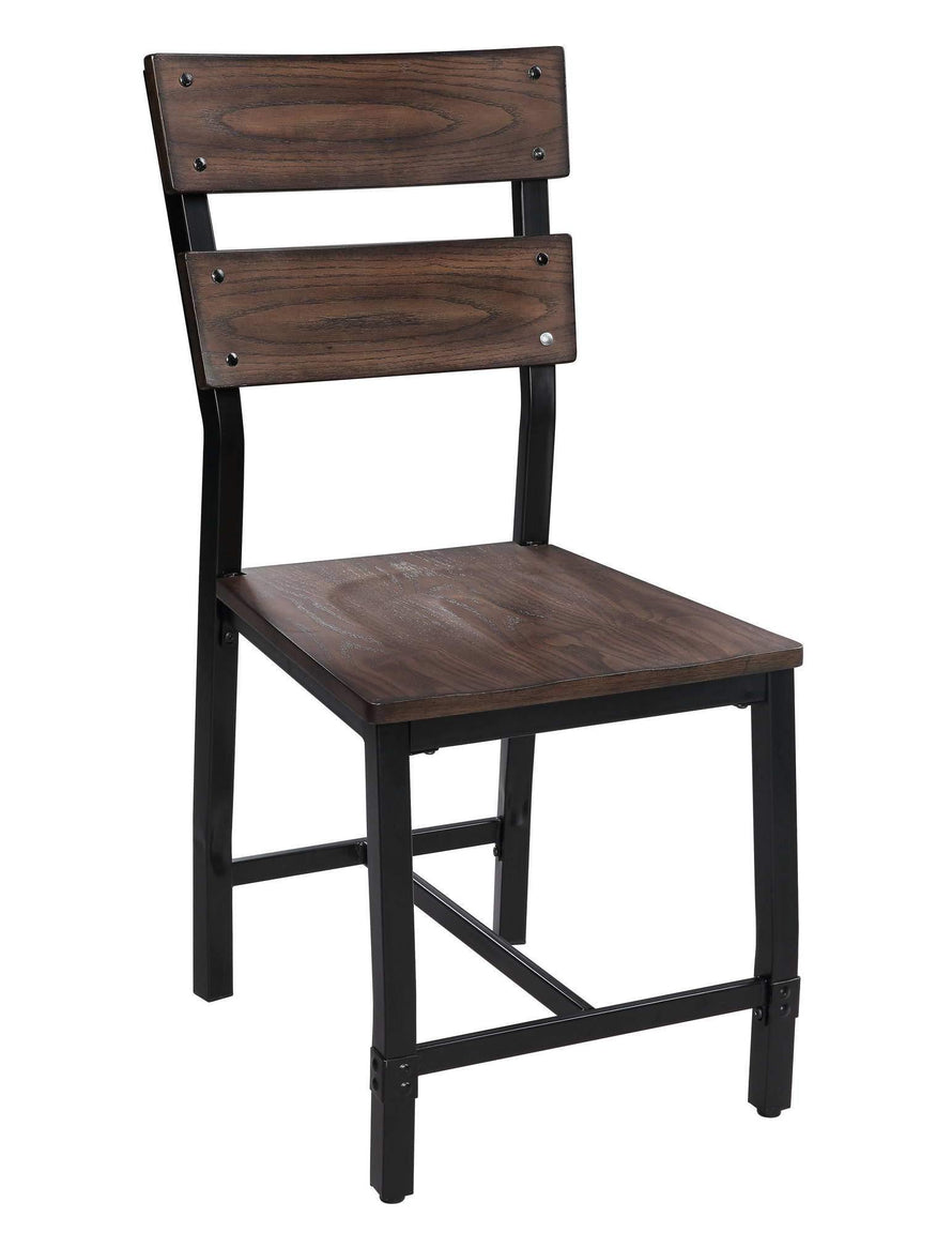 Side Chair, Industrial Design, Set of 2, Oak Finish - My USA Furniture