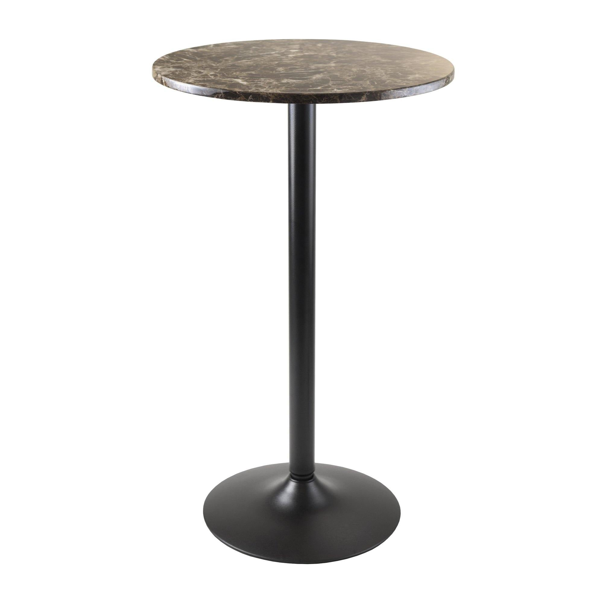 Cora Round Pub Table, Faux Marble Top, Black Base
