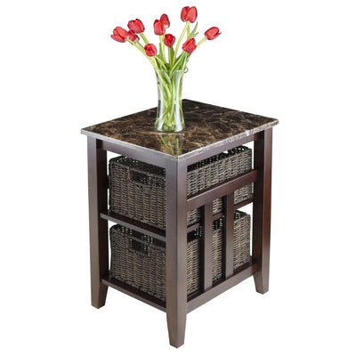 Zoey Side Table Faux Marble Top with 2 Baskets - My USA Furniture