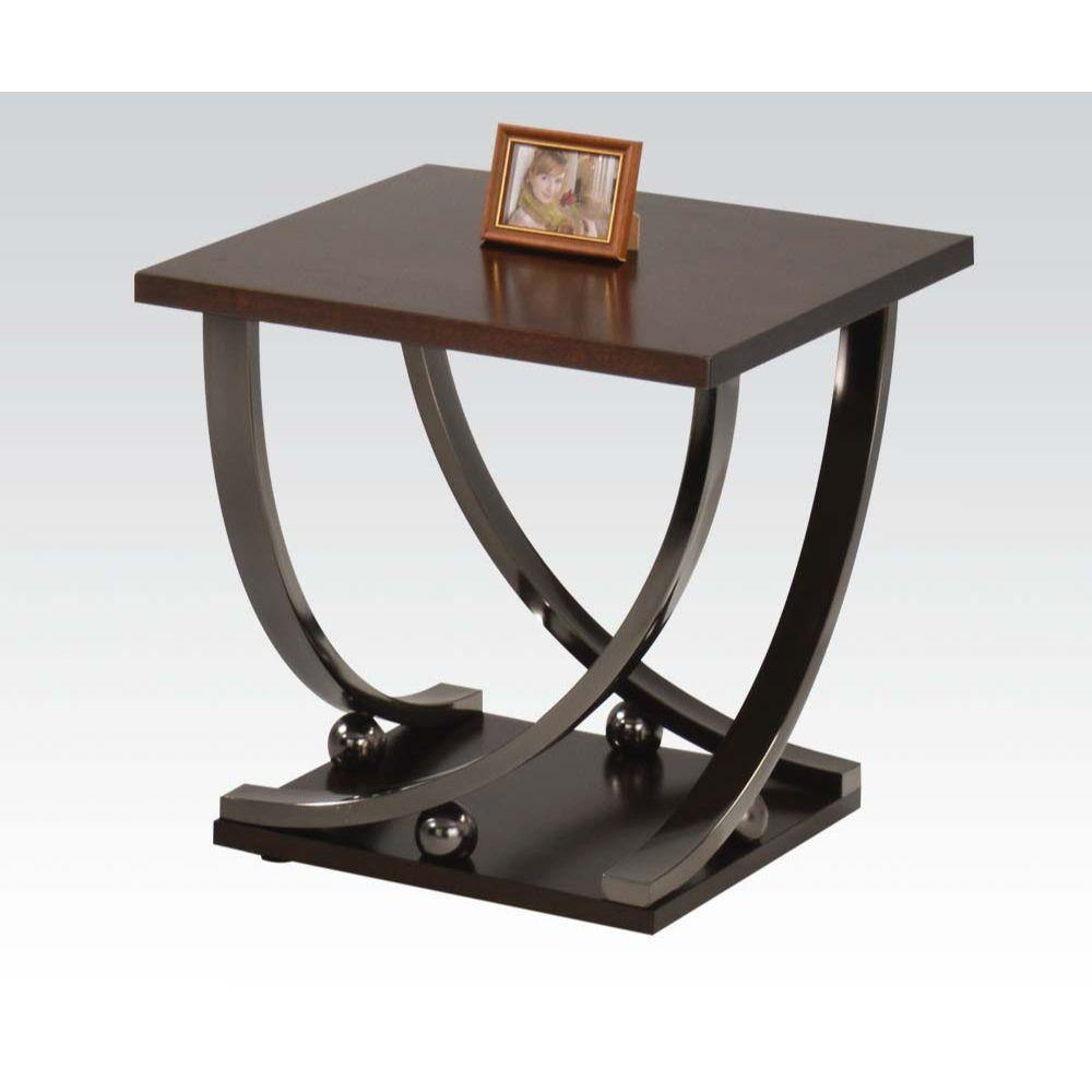 Contemporary End Table, Curved Legs, Black Finish - My USA Furniture
